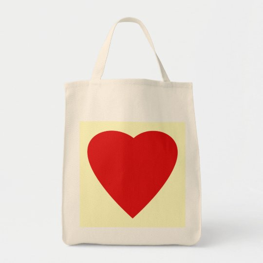 Red and Cream Love Heart Design. Tote Bag