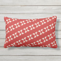 Red and Cream Sailboats Pattern Outdoor Pillow