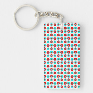 Red and cyan flowers keychain