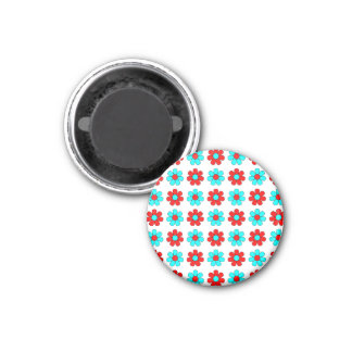 Red and cyan flowers magnet