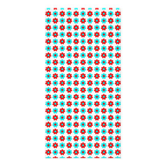 Red and cyan flowers photo card