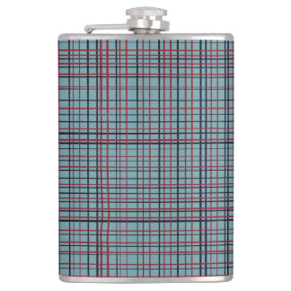 Red and Dark Blue Threads on Blue Flask