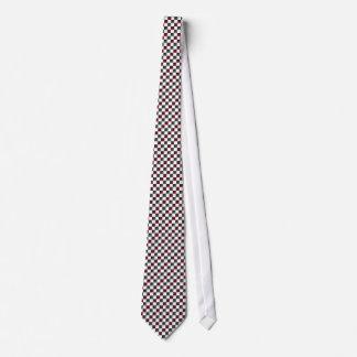 Red and Dark Gray Checkerboard Diagonal Tie