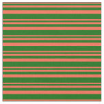 [ Thumbnail: Red and Dark Green Colored Stripes Fabric ]