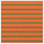 [ Thumbnail: Red and Dark Green Colored Stripes Pattern Fabric ]
