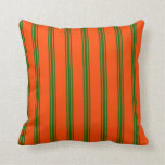 [ Thumbnail: Red and Dark Green Colored Stripes Pattern Pillow ]