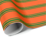 [ Thumbnail: Red and Dark Green Colored Stripes Pattern Wrapping Paper ]