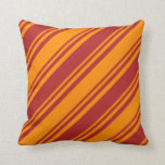 [ Thumbnail: Red and Dark Orange Colored Lines Throw Pillow ]