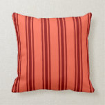 [ Thumbnail: Red and Dark Red Lined/Striped Pattern Pillow ]
