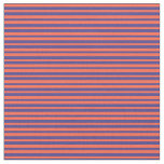 [ Thumbnail: Red and Dark Slate Blue Striped Pattern Fabric ]