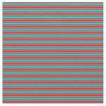 [ Thumbnail: Red and Dark Turquoise Striped/Lined Pattern Fabric ]
