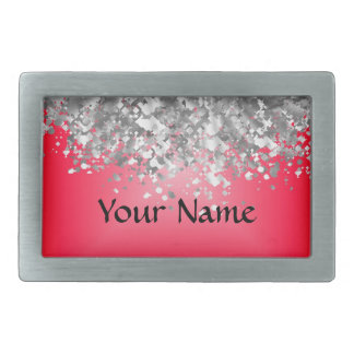 Red and faux glitter belt buckle
