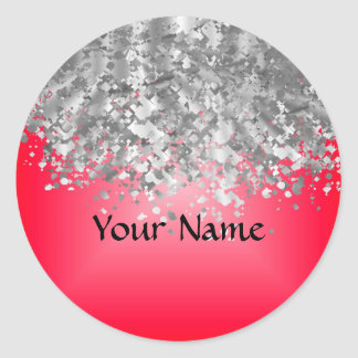 Red and faux glitter classic round sticker