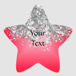 Red and faux glitter sticker