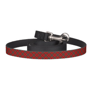 Red and Forest Green Scott Clan Scottish Plaid Dog Leash