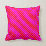 [ Thumbnail: Red and Fuchsia Colored Stripes Throw Pillow ]