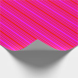 [ Thumbnail: Red and Fuchsia Colored Stripes Wrapping Paper ]