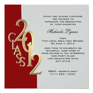 Red and Gold 2012 Photo Graduation Invitation