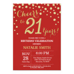 Red and Gold 21st Birthday Diamond Invitation