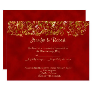 Red and Gold 40th Anniversary Response Card