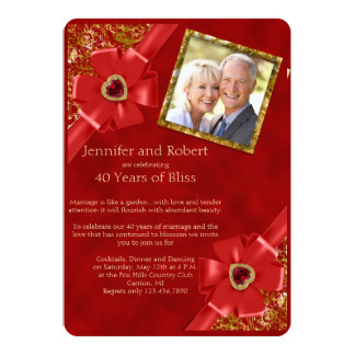 Red and Gold 40th Wedding Anniversary Invitation