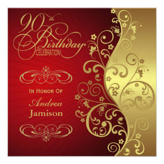 Red and Gold 90th Birthday Party Invitation