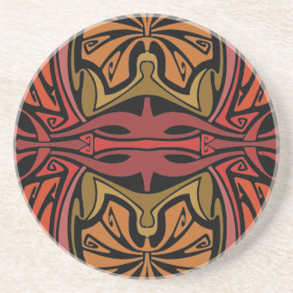 Red and gold art nouveau vintage pattern coaster