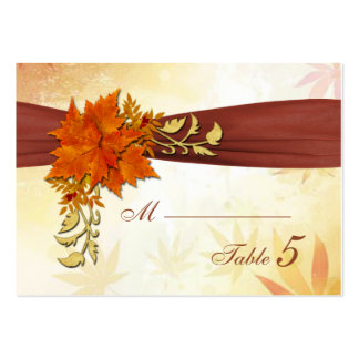 Red and gold Atumnal leaves Place card Large Business Cards (Pack Of 100)