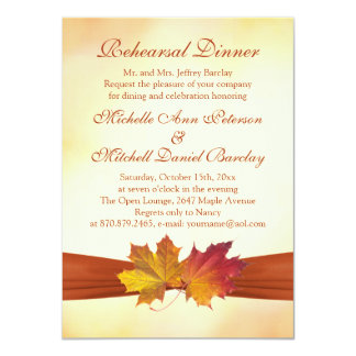 Red and gold autumn maple leaves Rehearsal Dinner Card