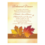 Red and gold autumn maple leaves Rehearsal Dinner Custom Invites