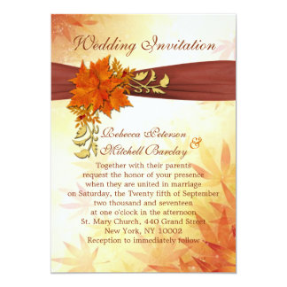 Red and gold autumnal leaves Wedding 5x7 Paper Invitation Card
