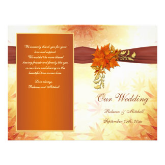 Red and gold autumnal leaves Wedding Program