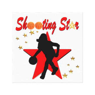 RED AND GOLD BASKETBALL SHOOTING STAR DESIGN CANVAS PRINT