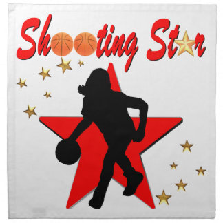 RED AND GOLD BASKETBALL SHOOTING STAR DESIGN CLOTH NAPKIN