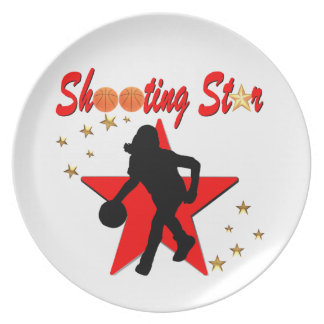 RED AND GOLD BASKETBALL SHOOTING STAR DESIGN MELAMINE PLATE
