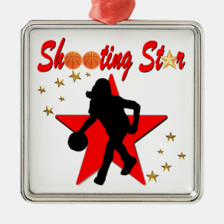 RED AND GOLD BASKETBALL SHOOTING STAR DESIGN METAL ORNAMENT