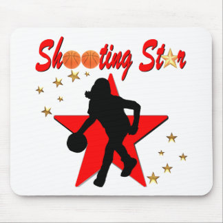 RED AND GOLD BASKETBALL SHOOTING STAR DESIGN MOUSE PAD