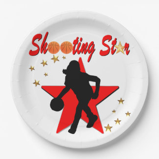 RED AND GOLD BASKETBALL SHOOTING STAR DESIGN PAPER PLATE