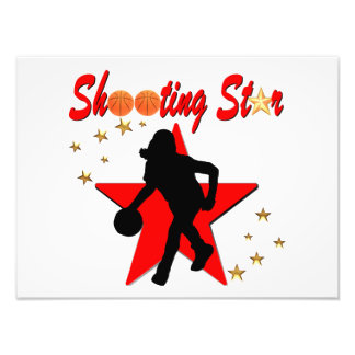 RED AND GOLD BASKETBALL SHOOTING STAR DESIGN PHOTO PRINT