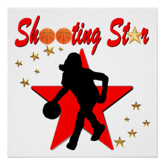 RED AND GOLD BASKETBALL SHOOTING STAR DESIGN POSTER