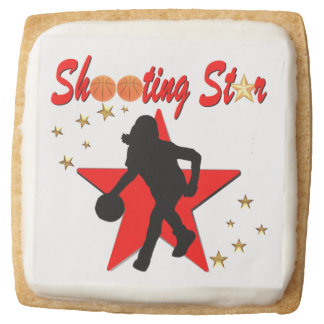 RED AND GOLD BASKETBALL SHOOTING STAR DESIGN SQUARE SHORTBREAD COOKIE