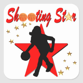 RED AND GOLD BASKETBALL SHOOTING STAR DESIGN SQUARE STICKER