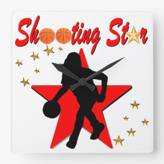 RED AND GOLD BASKETBALL SHOOTING STAR DESIGN SQUARE WALL CLOCK