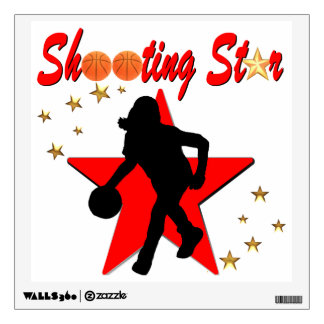 RED AND GOLD BASKETBALL SHOOTING STAR DESIGN WALL STICKER