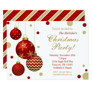 Work dinner invitations announcements zazzle red and gold baubles christmas party invitation stopboris Choice Image