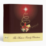 Red and Gold Bells Candle Christmas Album 3 Ring Binder