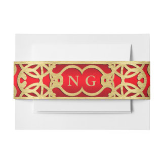 Red and Gold Belly Band Invitation Belly Band