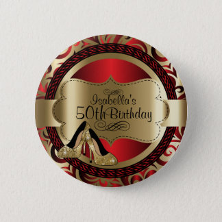Red and Gold Birthday with Gold High Heels Button