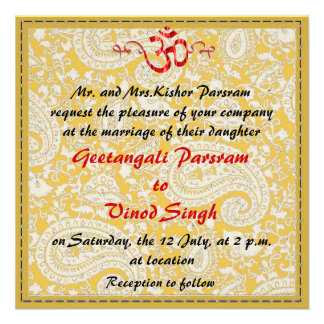 Red and gold brocade HIndu wedding Invites