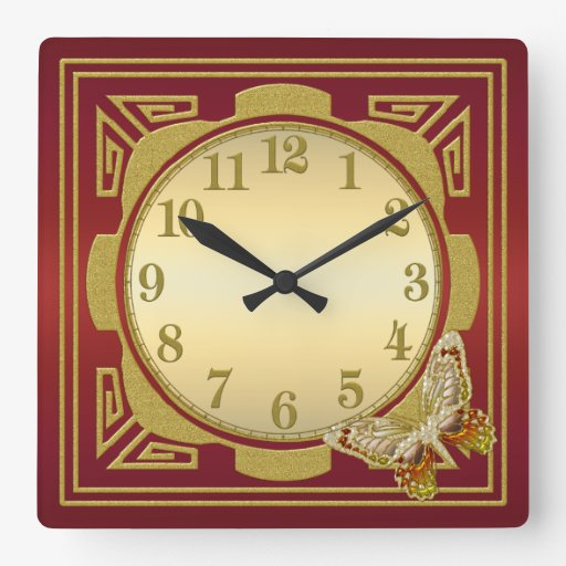 Red and Gold Butterfly Wall Clock